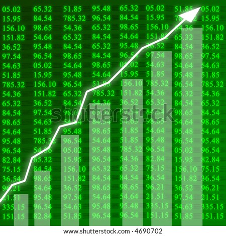 Electronic stock numbers showing growth - stock photo