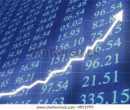 Electronic stock numbers with graph - stock photo