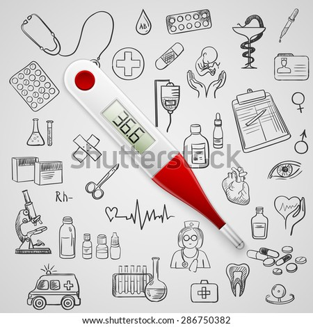 electronic thermometer and hand draw medicine icon - stock photo