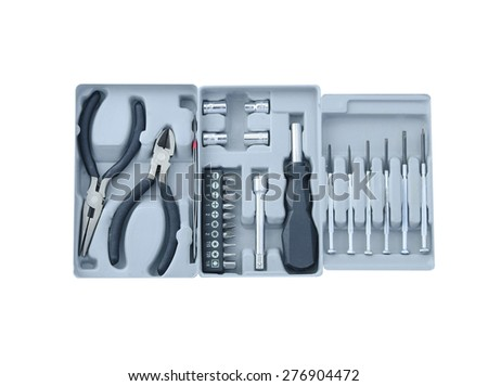 Electronic tool box, Tool kit, pliers, screwdriver, wrench. On white background. - stock photo