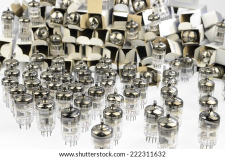 Electronic vacuum tubes of packing with new originals now obsolete. - stock photo
