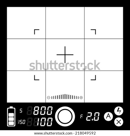 electronic viewfinder camera with grid and focusing point - stock photo