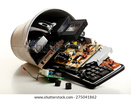 Electronic waste isolated on white - stock photo