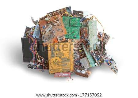 Electronic waste ready for recycling isolate on white background - stock photo