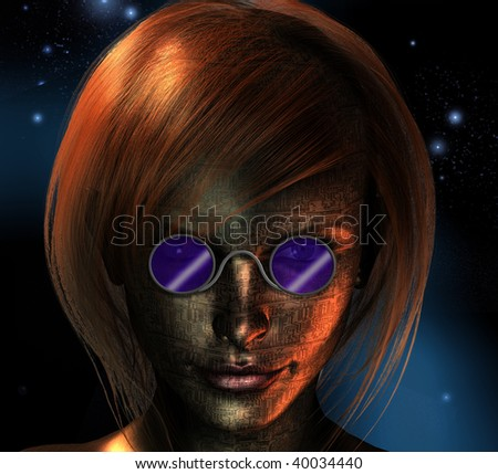 Electronic Woman - stock photo