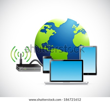 electronics and connection router. illustration design over a white background - stock photo