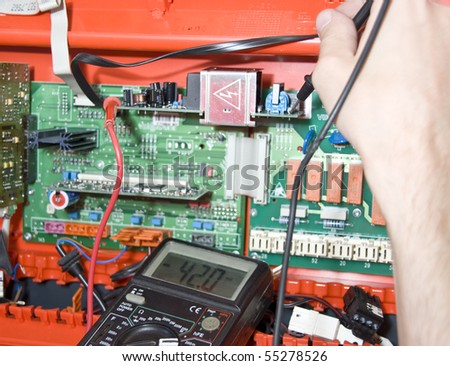 Electronics. Engineer at work - stock photo