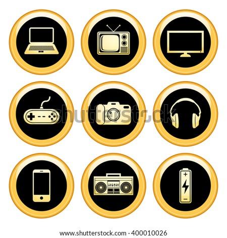 Electronics Icons Gold Icon Set. Raster version. - stock photo