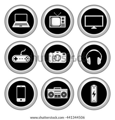 Electronics Icons Silver Icon Set. Raster Version - stock photo