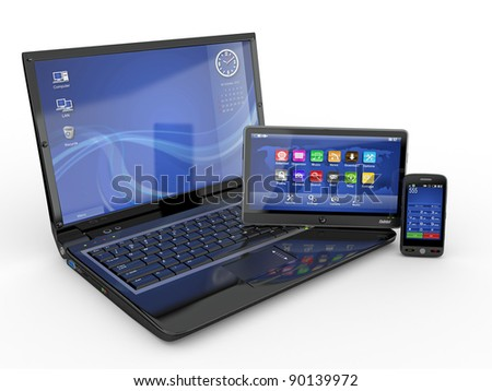 Electronics. Laptop, mobile phone and tablet pc. 3d - stock photo