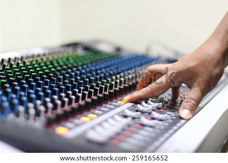 Electronics,mixer,control,Audio Control. - stock photo