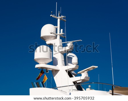 electronics tower on a luxury yacht - stock photo