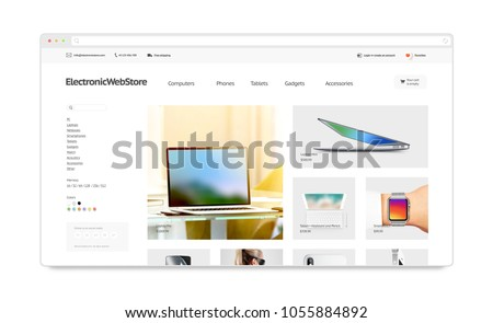 Electronics Webstore Site Template Mock Isolated Stock Illustration ...