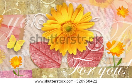 Elegance autumnal postcard with beautiful gerbera flowers, leaves and butterfly. Love floral pattern.Can be used as gift greeting card, invitation for wedding, birthday, other holiday happening - stock photo