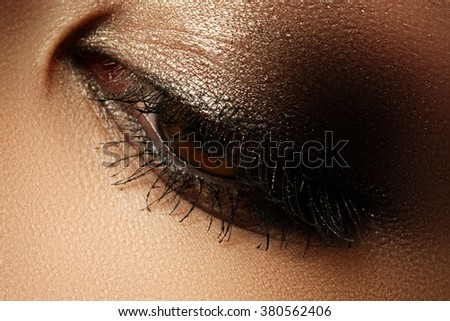 Elegance close-up of female eye with classic dark brown smoky make-up. Macro shot of woman's face part. Beauty, cosmetics and makeup - stock photo