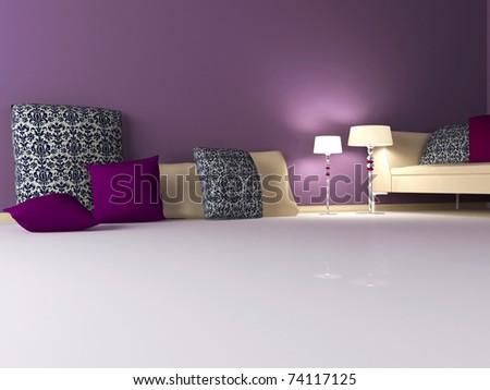 elegance interior design of modern violet living room, 3d render - stock photo