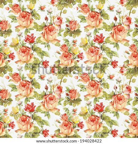 Elegance raster Seamless pattern with flowers roses - stock photo