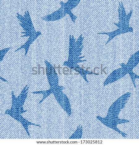 Elegance seamless  pattern with  jeans birds. - stock photo
