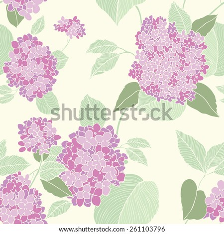 Elegance Seamless pattern with lilac flowers, floral illustration in vintage style - stock photo