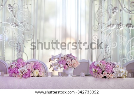 Elegance table set up for wedding - stock photo