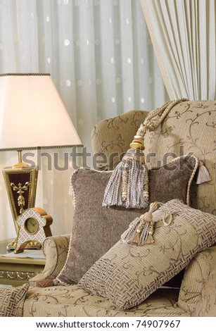 Elegance tassels display on luxury armchair - stock photo