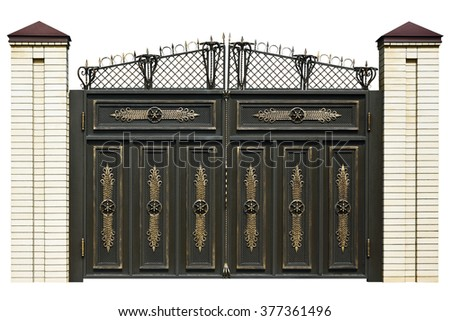 Elegance,  wrought   gate  in old  stiletto. Isolated over white background. - stock photo