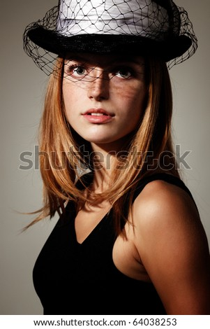 elegance young woman with hat