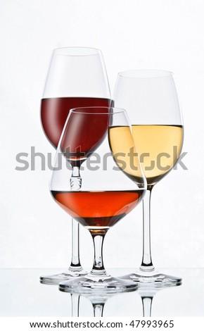 elegant alcohol drink glasses - stock photo
