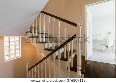 Elegant and light staircase in the house  - stock photo