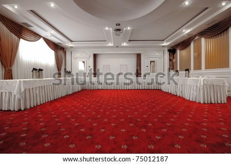 Elegant and rich designed banquet hall. Great file for your new catering, weddings, conferences hotel and other business service. - stock photo