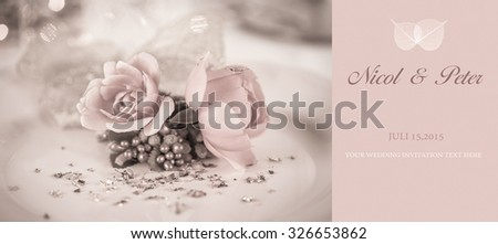 Elegant and romantic dinner setting with rose decoration,copy space with leaf decoration to wedding card - stock photo