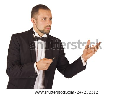 Elegant and stylish musician and conductor on a white background !!! - stock photo