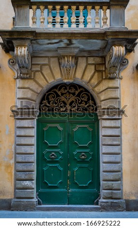 Elegant Antique Door on a Tuscan home Florence Italy, Europe  - stock photo