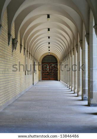 Elegant arcade in the University of Toronto, Canada - stock photo