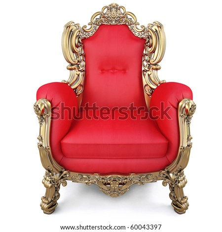 elegant armchair of red fabric and gold-plated body. isolated on white - stock photo