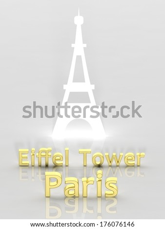 Elegant background with Eiffel Tower and Paris 3d text - stock photo