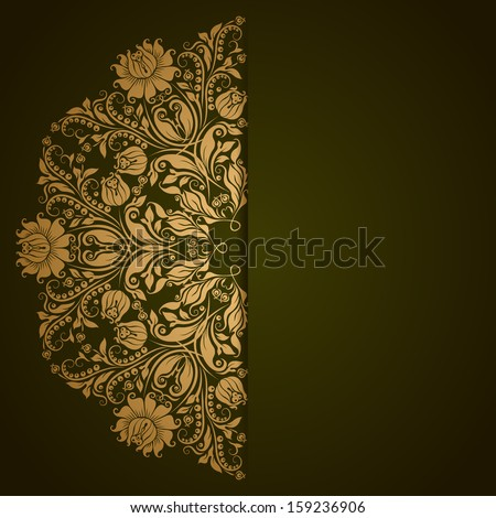 Elegant background with lace ornament and place for text. Floral elements, ornate background. - stock photo