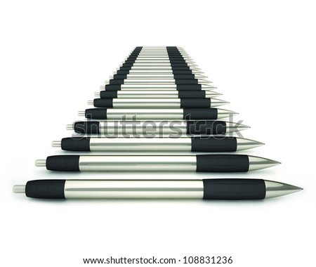 Elegant ballpoint pencils with black leather isolated on white background - stock photo