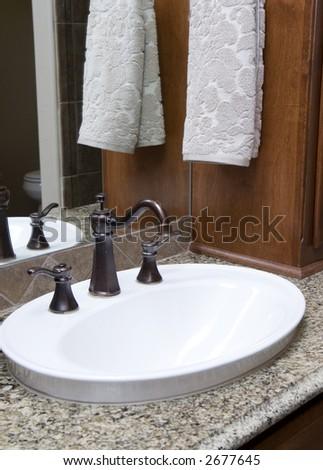 elegant bathroom in luxury home - stock photo