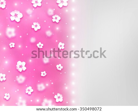 Elegant beautiful bright pink bokeh background with shining stardust and tiny cute flowers. Sparkling background Valentine Day love beautiful. Divided candy pink grey romantic love postcard concept. - stock photo