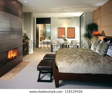 Elegant Bedroom Architecture Stock Images, Photos of Living room, Dining Room, Bathroom, Kitchen, Bed room, Office, Interior photography. - stock photo