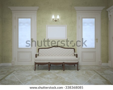 Elegant Bench Between Two Doors In Expensive House Corridor. Bright Interior  Of Hallway With Olive