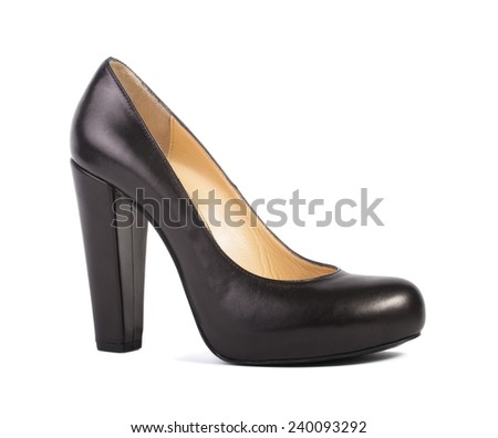 Elegant black high heel women shoes isolated on white background