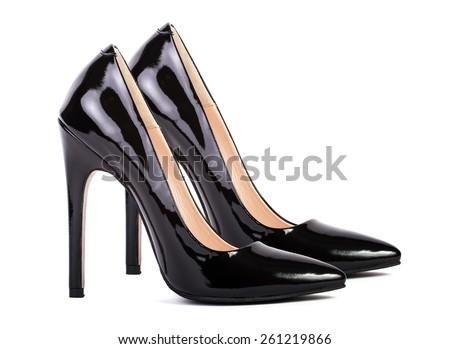 Elegant black high heel women shoes isolated on white background - stock photo
