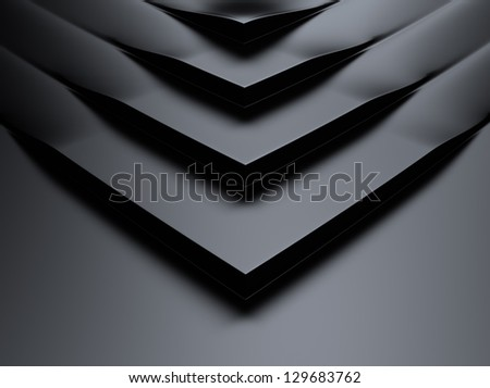 Elegant black metallic background with steps and corners - stock photo