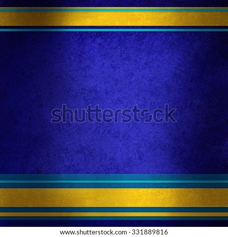 elegant blue background with gold ribbons and blue stripes in random pattern, distressed sapphire blue texture and shiny metallic gold ribbon color - stock photo