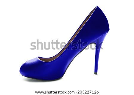 Elegant blue leather high heeled shoe isolated over white - stock photo