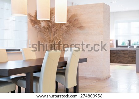 Elegant bright dining room at luxury interior