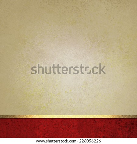 elegant brown background paper with red footer and gold ribbon accent, beige background, fancy blank poster - stock photo