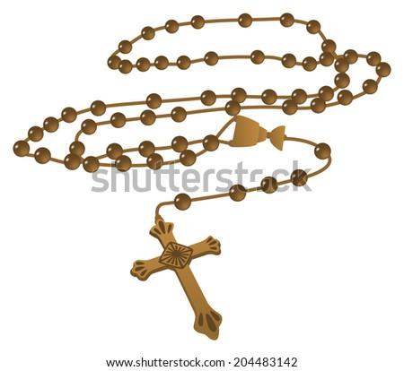Elegant Brown Catholic Rosary  - Raster Version - stock photo